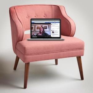 rosey pink sofa with macbook